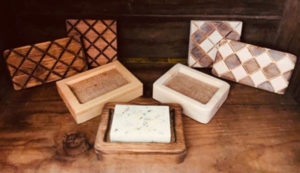 Soap in Natural Wood Soap Dishes